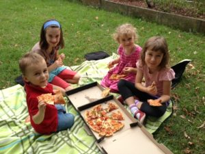 Pizza picnic @ Rehab after church on Easter Sunday
